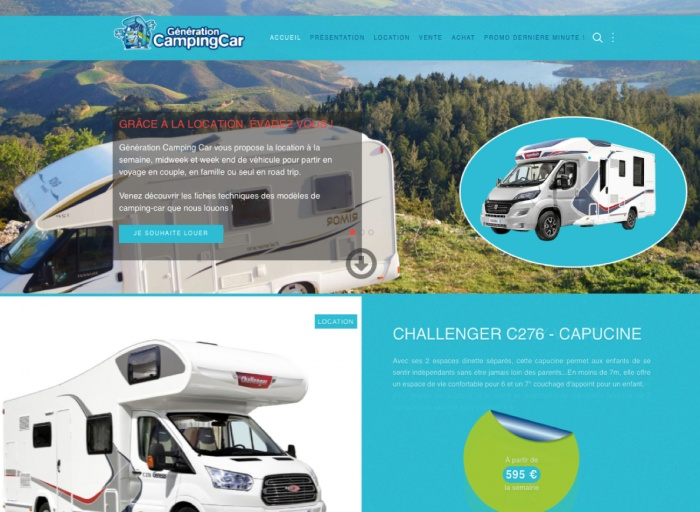 Illustration de la page d'accueil du site internet generation-camping-car.bzh